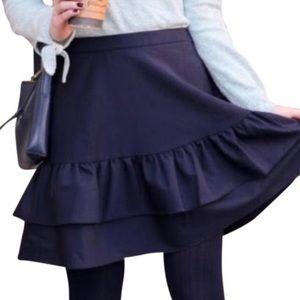 J.Crew Navy Blue ruffle Skirt size 4